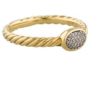 David Yurman Yellow Gold Pave Diamond Ring